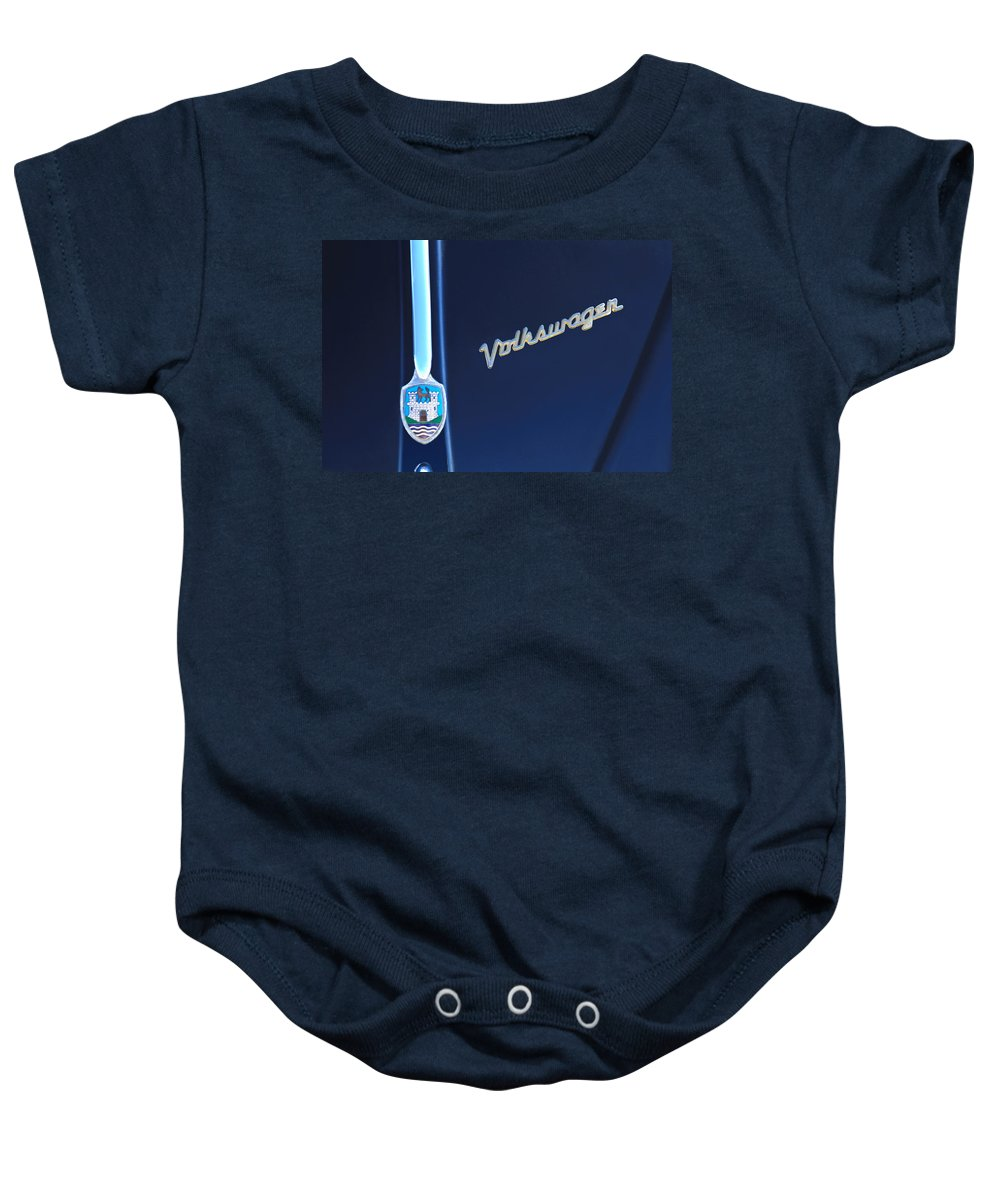 Volkswagen Vw Bug Baby Onesie featuring the photograph Volkswagen Vw Bug Hood Emblem by Jill Reger