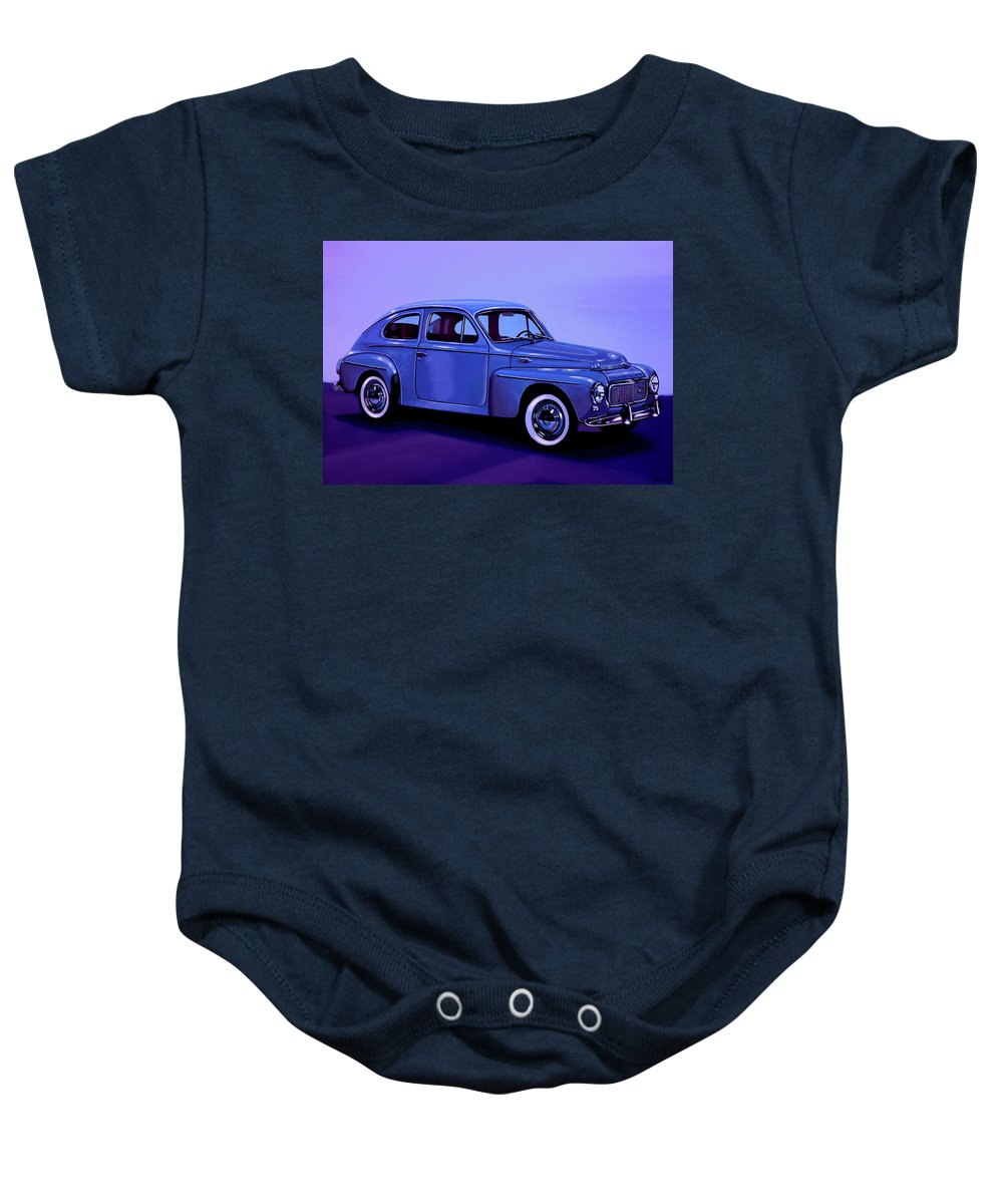 Volvo Pv544 Baby Onesie featuring the mixed media Volvo Pv 544 1958 Mixed Media by Paul Meijering