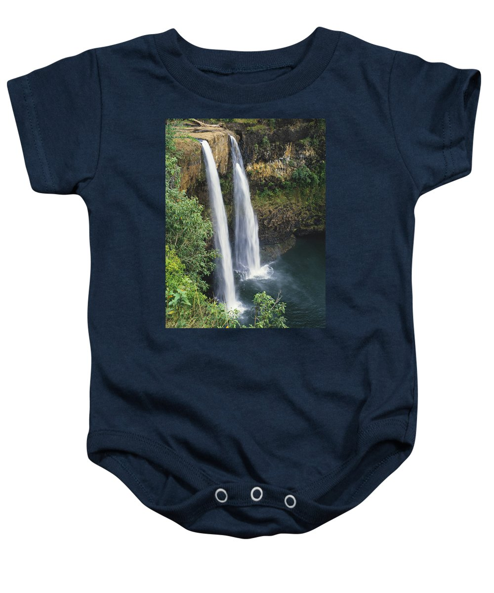 Beautiful Baby Onesie featuring the photograph Wailua Falls Surrounded By Foliag by Greg Vaughn - Printscapes