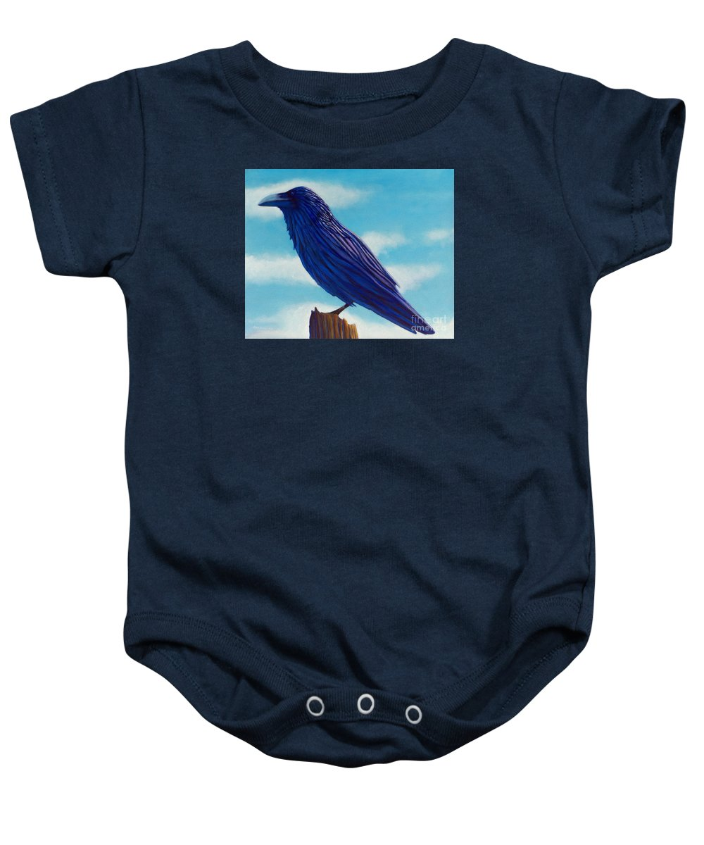 Raven Baby Onesie featuring the painting Waiting by Brian Commerford