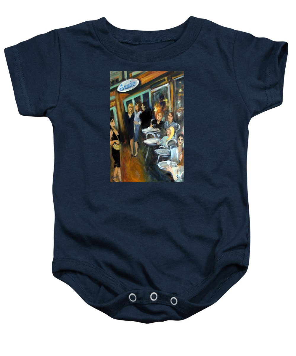 Sidewalk Cafe Baby Onesie featuring the painting Waiting For A Table by Valerie Vescovi