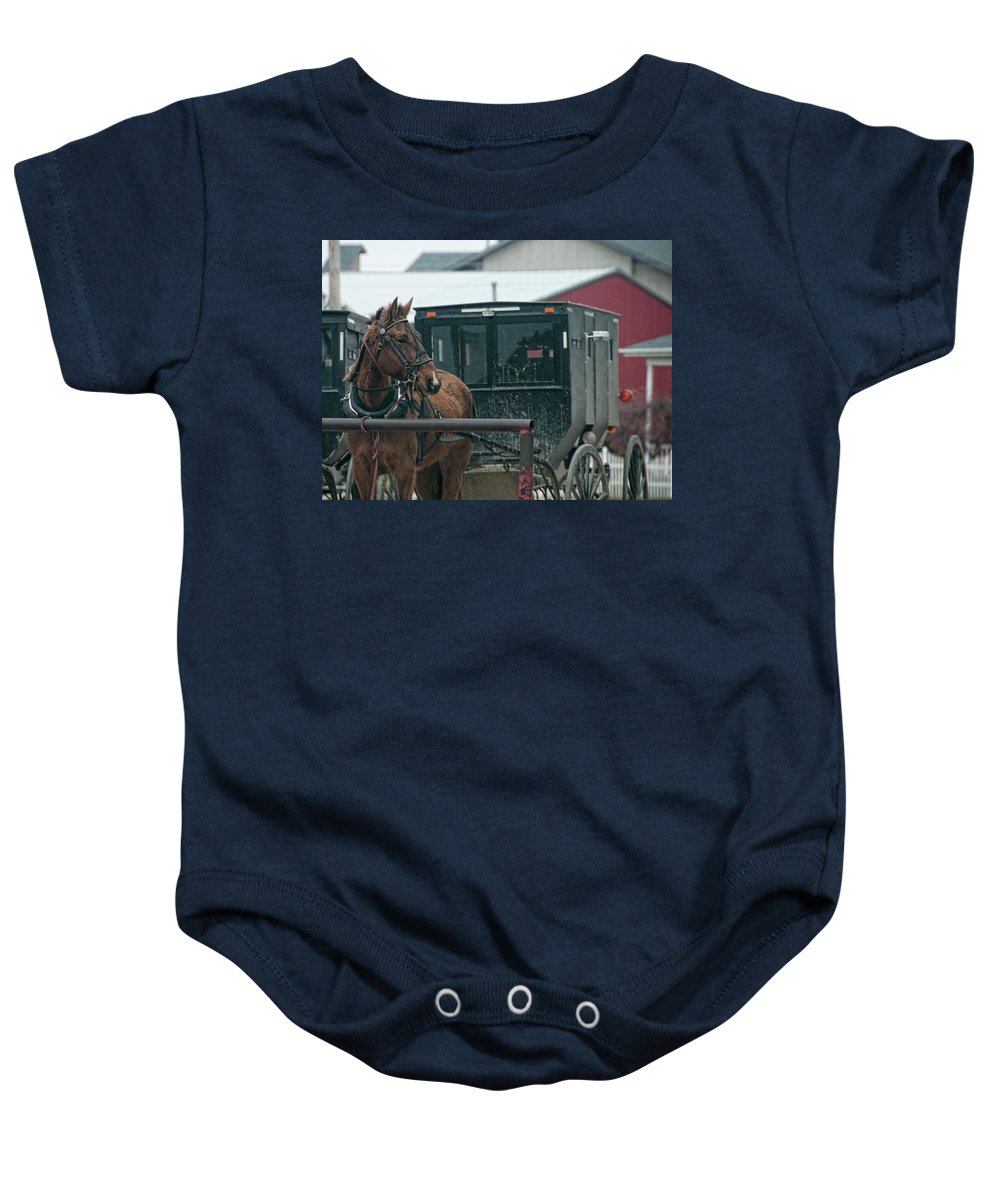 Amish Baby Onesie featuring the photograph Waiting For Home by David Arment