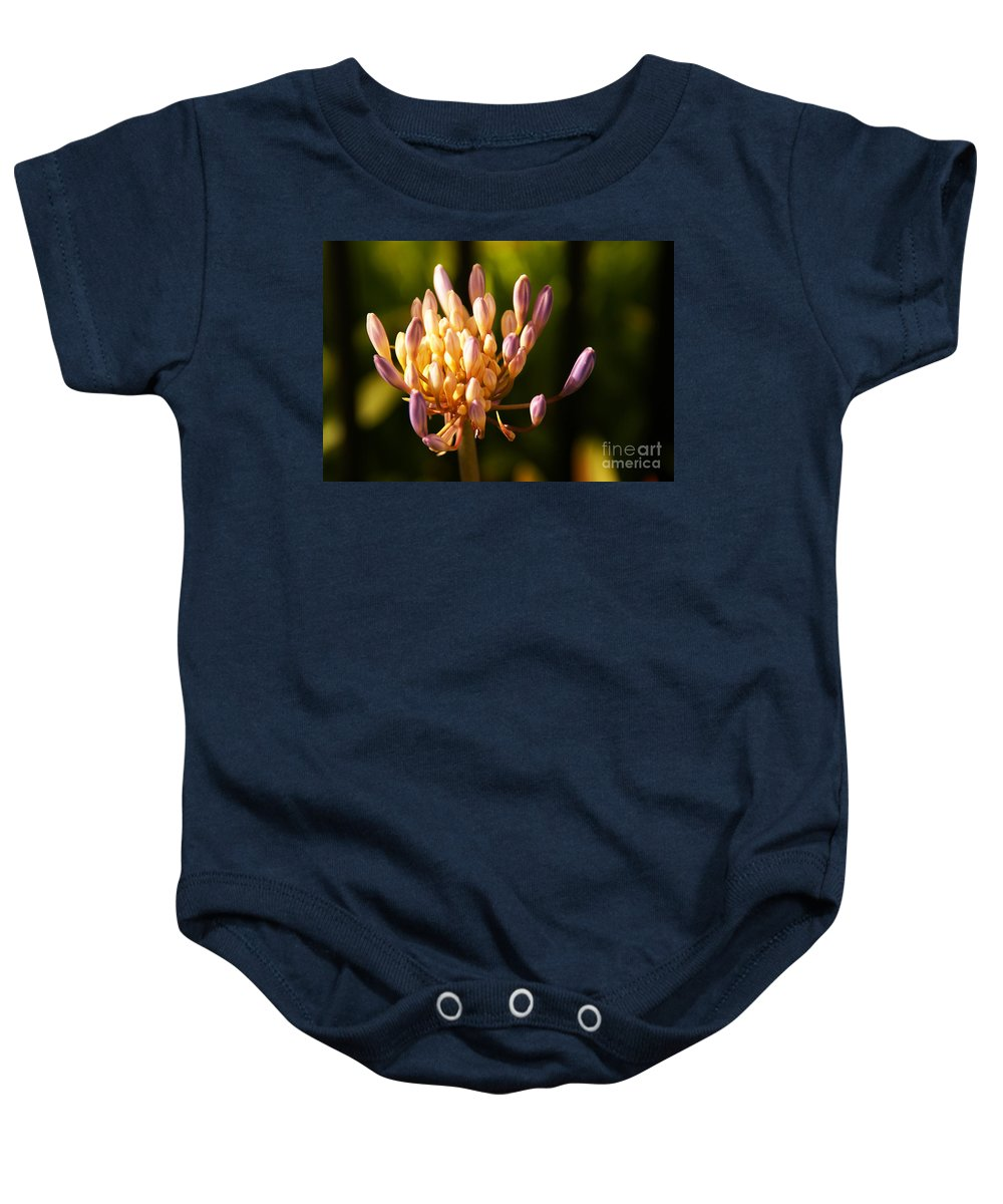 Flower Baby Onesie featuring the photograph Waiting To Blossom Into Beauty by Linda Shafer