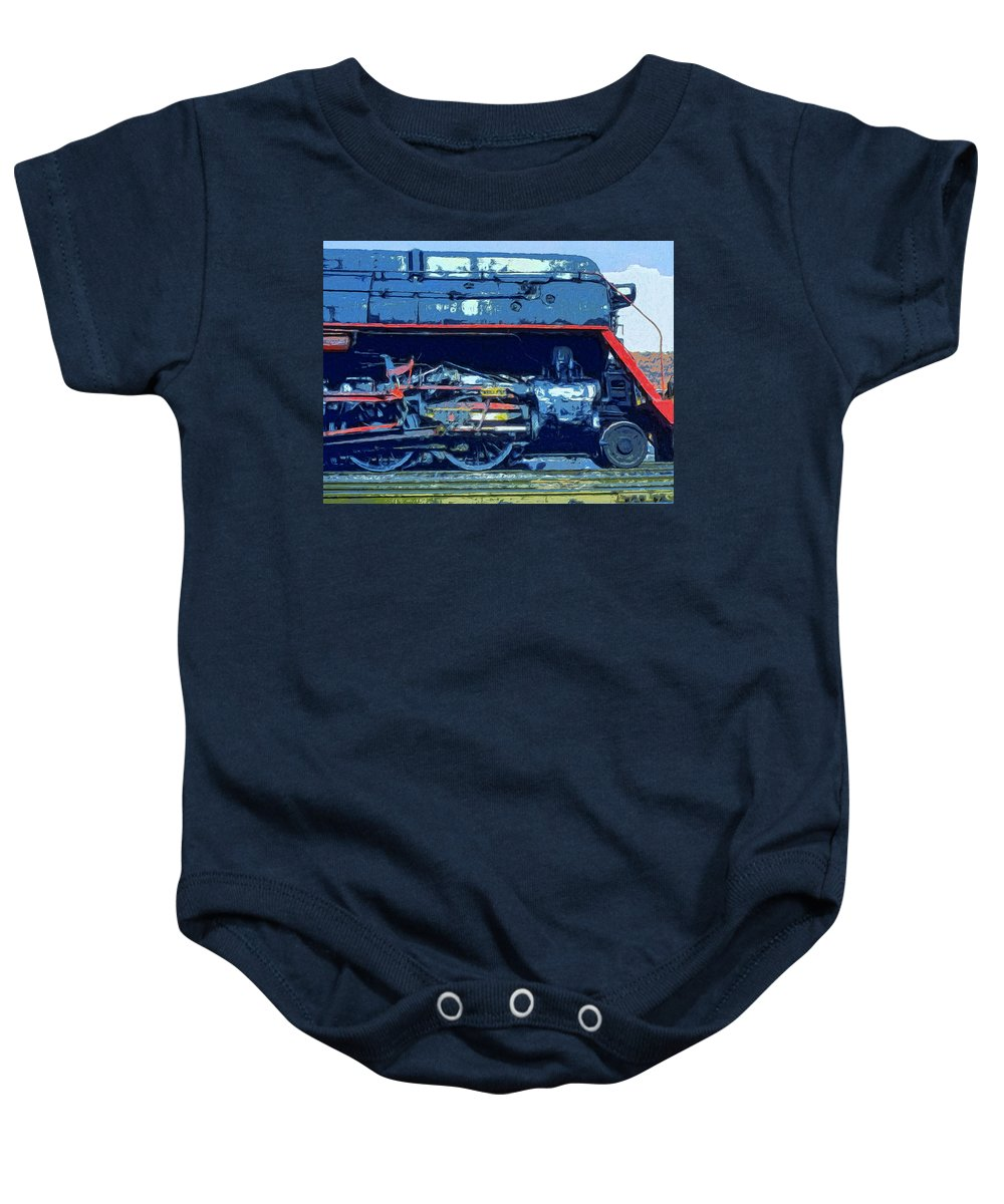 Locomotive Baby Onesie featuring the painting War Horse by Dominic Piperata