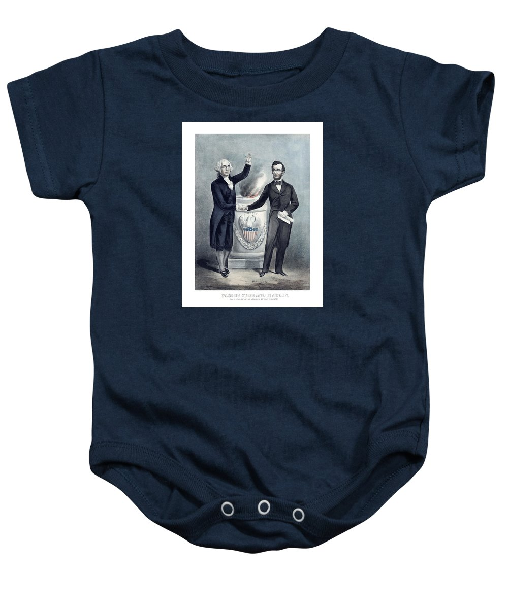 Abraham Lincoln Baby Onesie featuring the painting Washington And Lincoln by War Is Hell Store