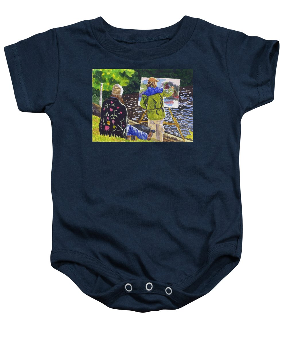 Artist Baby Onesie featuring the painting Watching The Maestro by Sharon E Allen