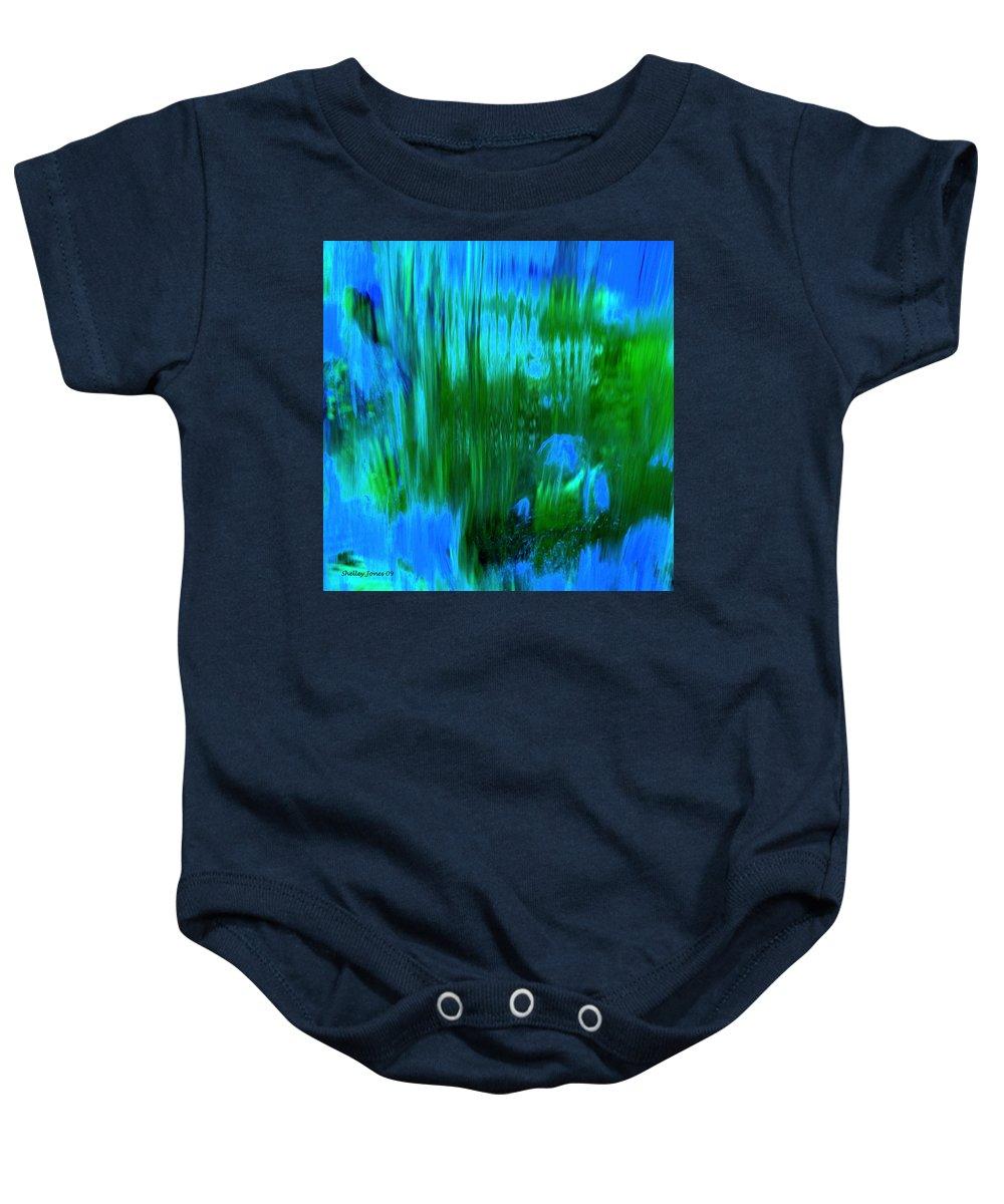 Digital Art Baby Onesie featuring the digital art Waterfall by Shelley Jones