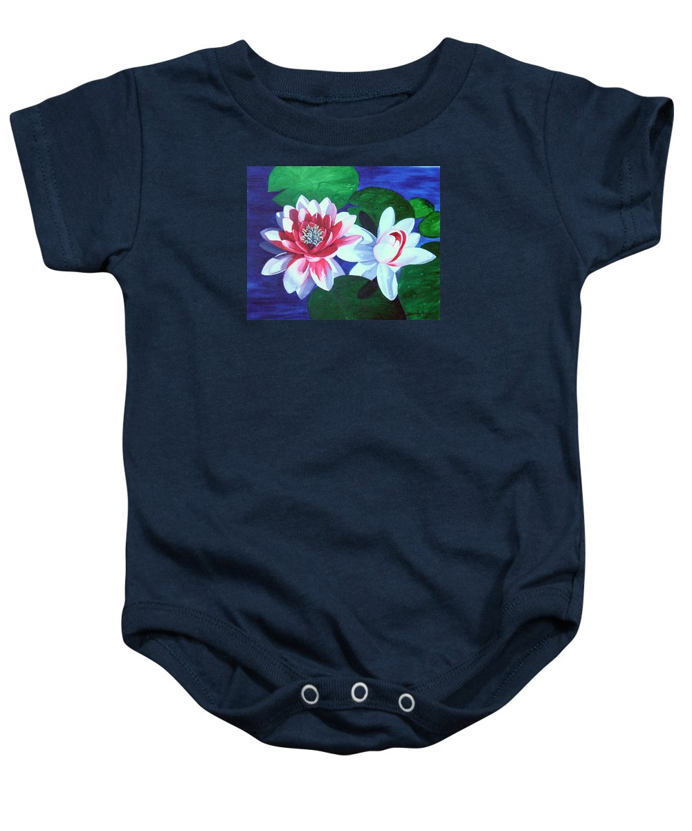 Water Lilies Baby Onesie featuring the painting Waterlily Dance by Brandy House