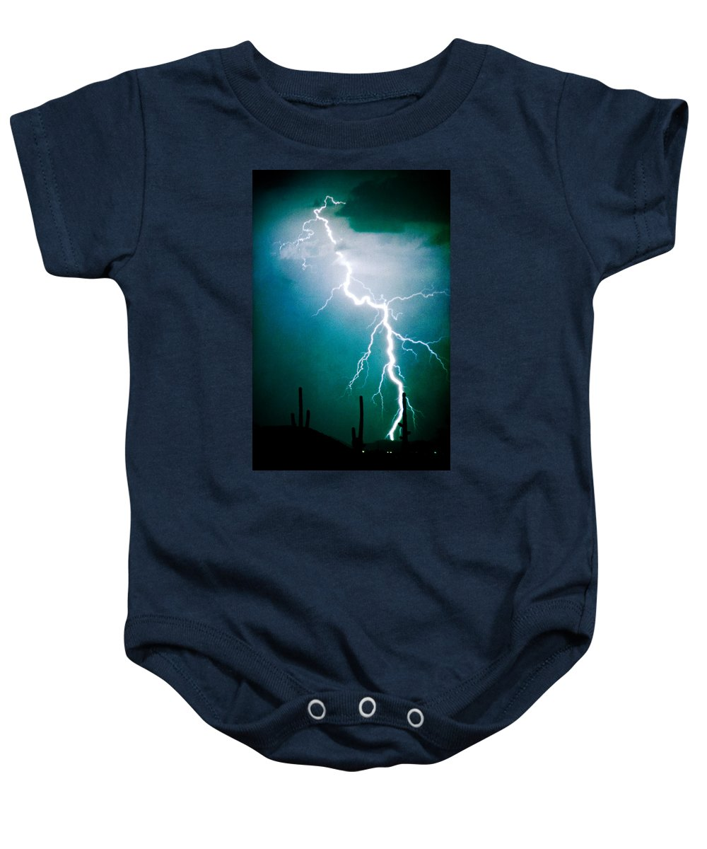 Lightning Baby Onesie featuring the photograph Way To Close For Comfort by James BO Insogna