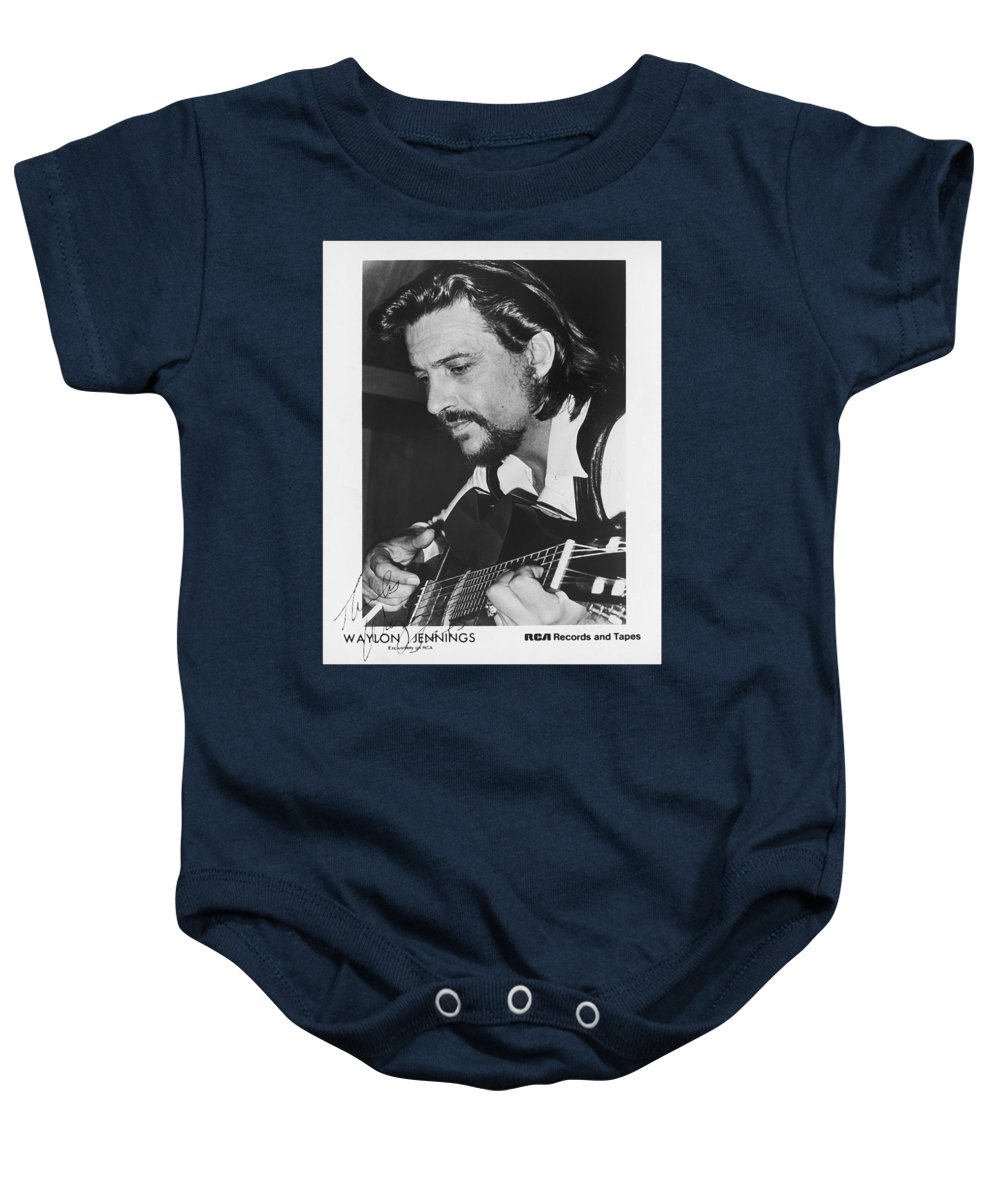 Publicity Photo Baby Onesie featuring the photograph Waylon Jennings 1971 Signed by Mountain Dreams