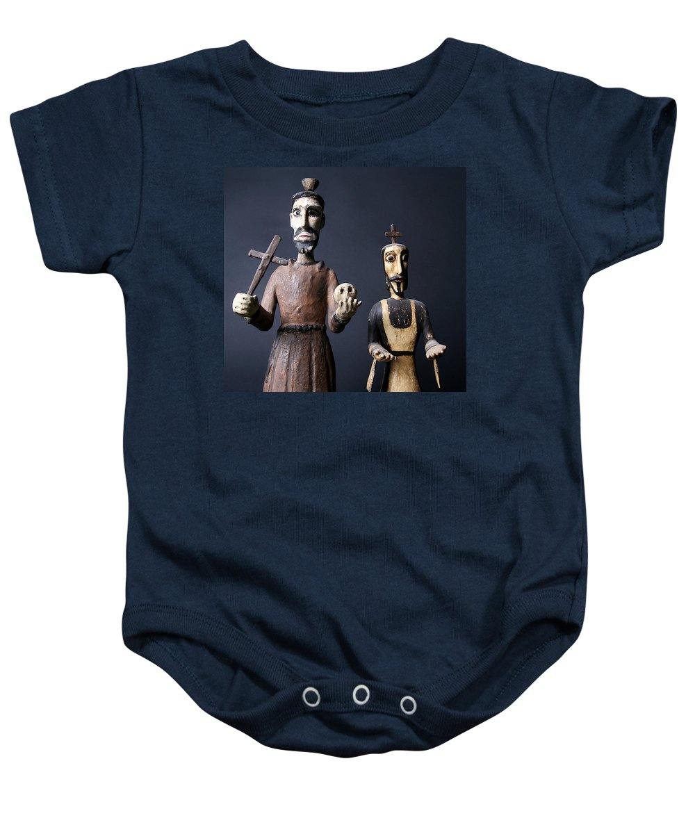 Figurines Baby Onesie featuring the photograph We Are From The Church And We Are Here To Help by Joe Kozlowski