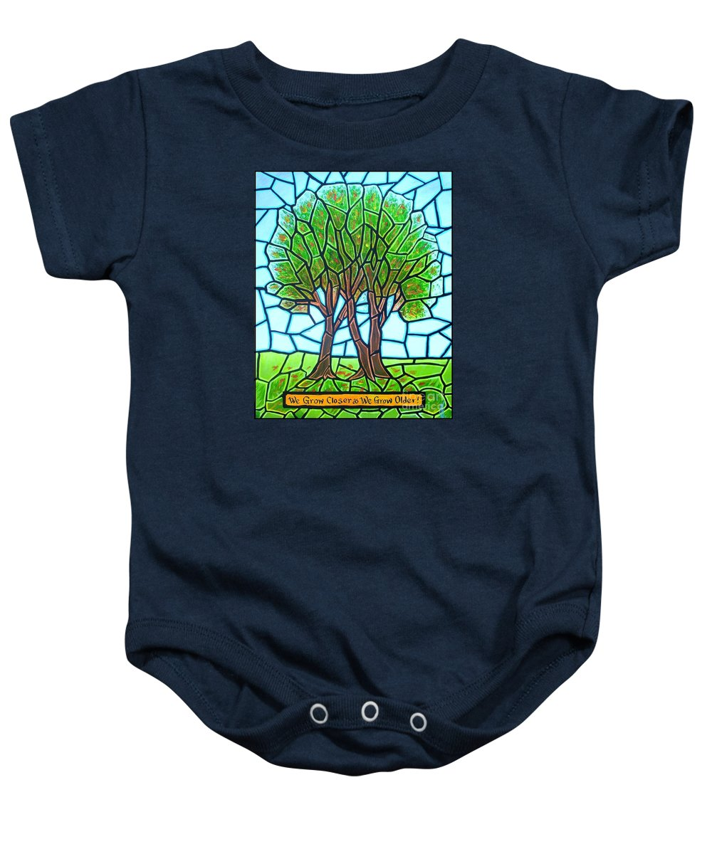 Aging Baby Onesie featuring the painting We Grow Closer As We Grow Older by Jim Harris