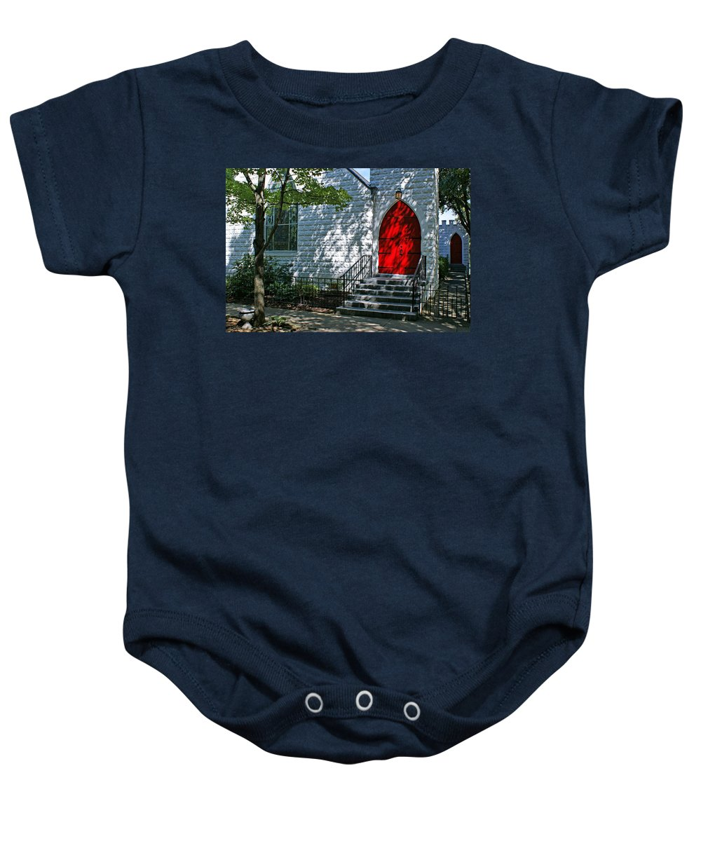 Church Baby Onesie featuring the photograph Welcome by Sandy Keeton