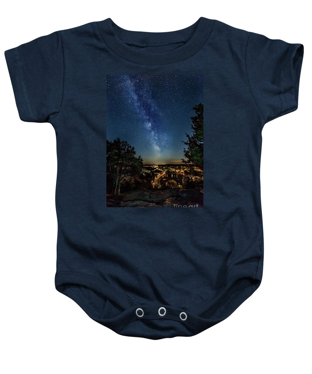 Canada Baby Onesie featuring the photograph Westport At Night 2 by Roger Monahan