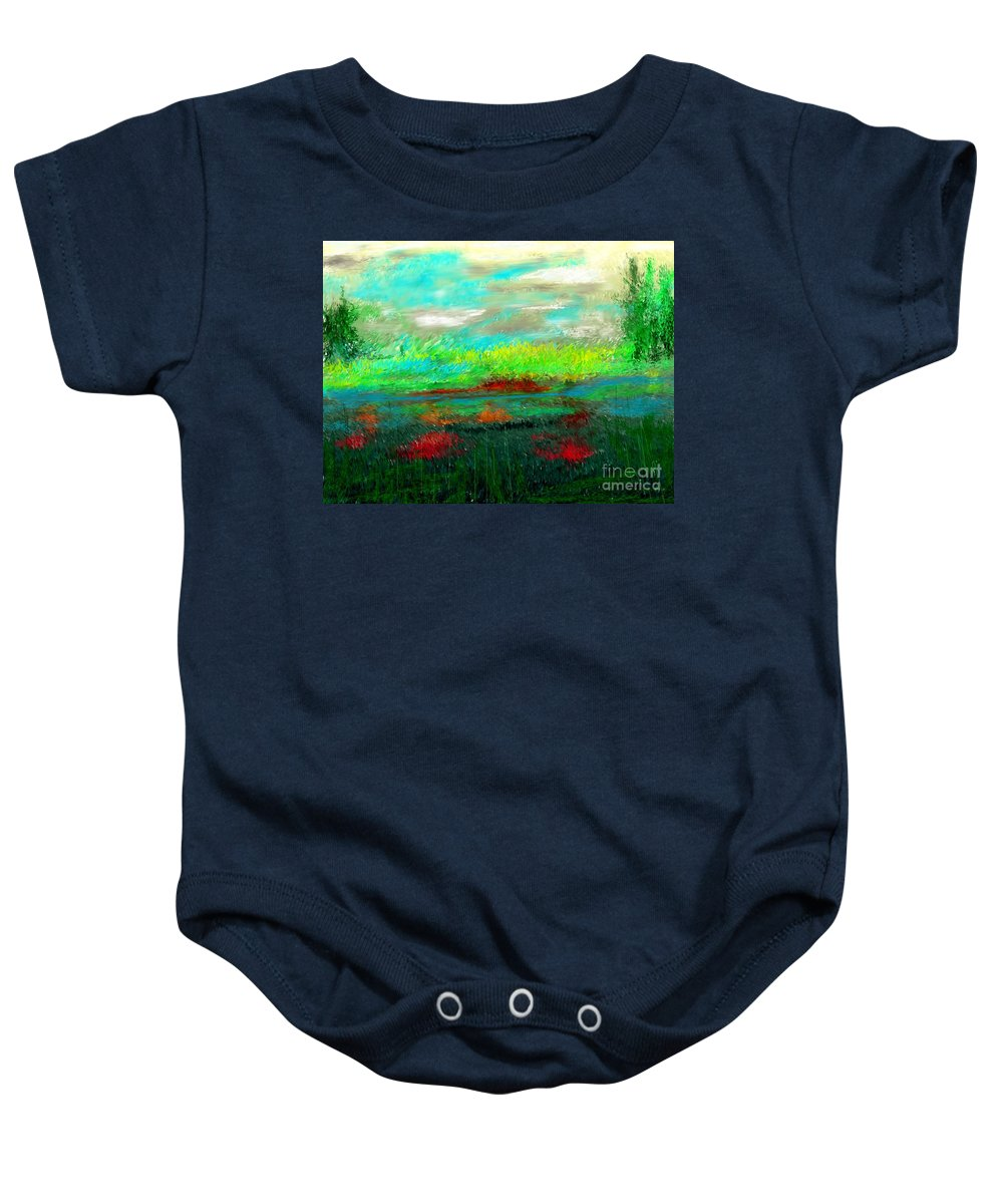 Nature Baby Onesie featuring the digital art Wetlands by David Lane