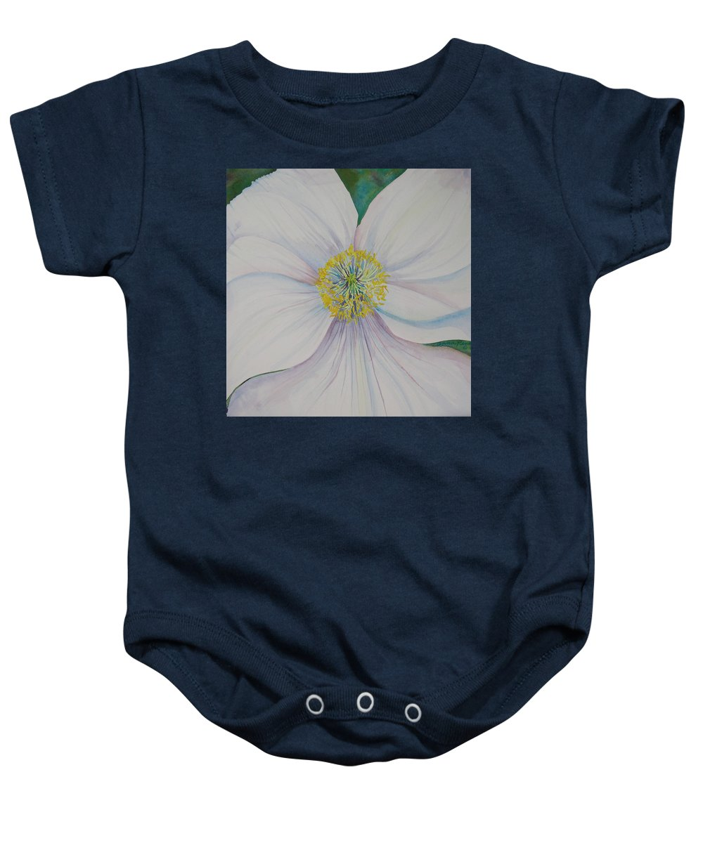 Poppy Baby Onesie featuring the painting White Poppy by Anna Penny