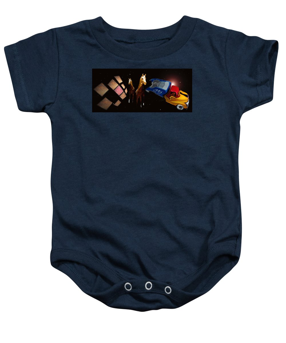 Truck Baby Onesie featuring the photograph Wild Horses by Charles Stuart
