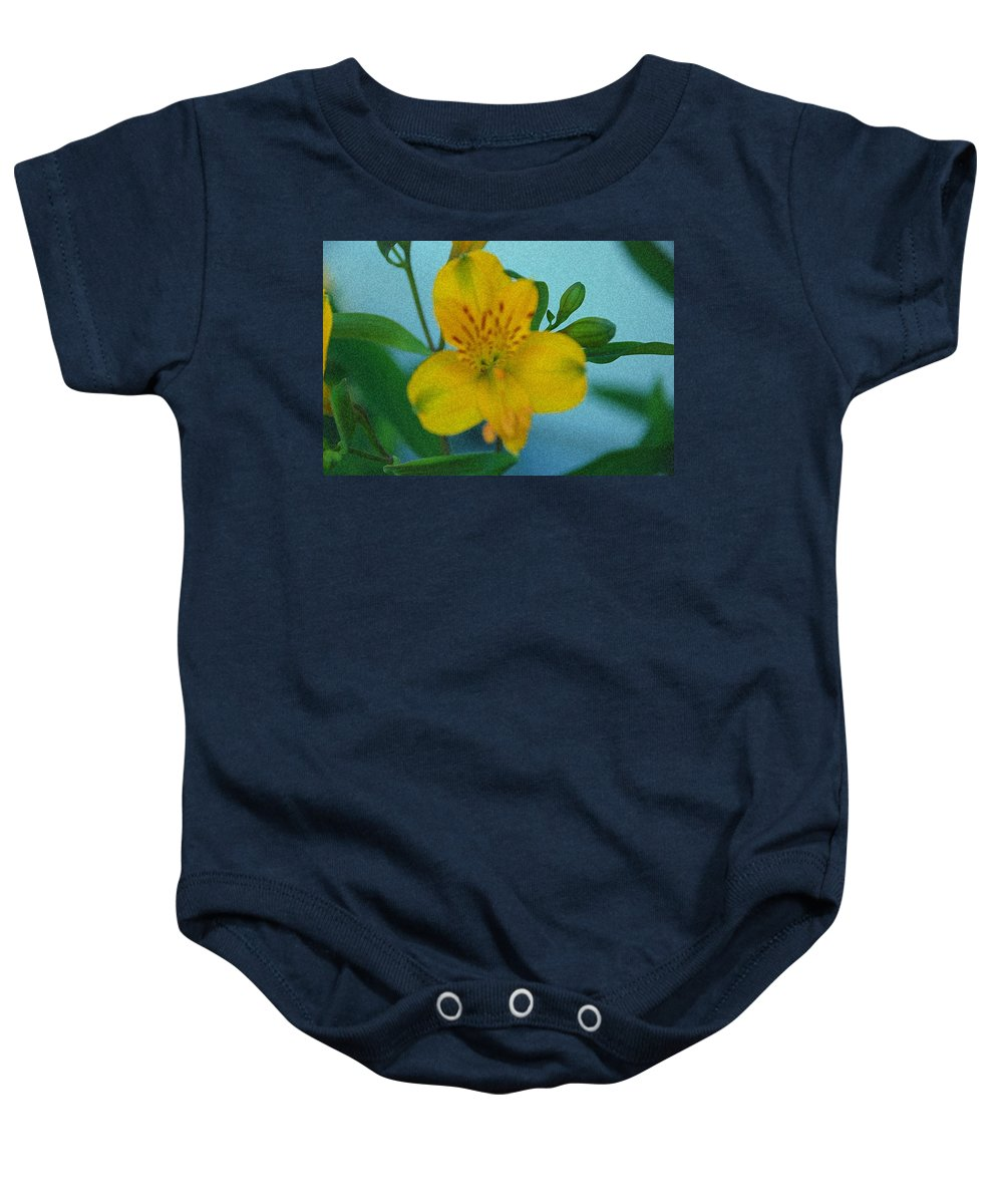 Lily Baby Onesie featuring the photograph Wild Yellow Lilly by Carol Eliassen