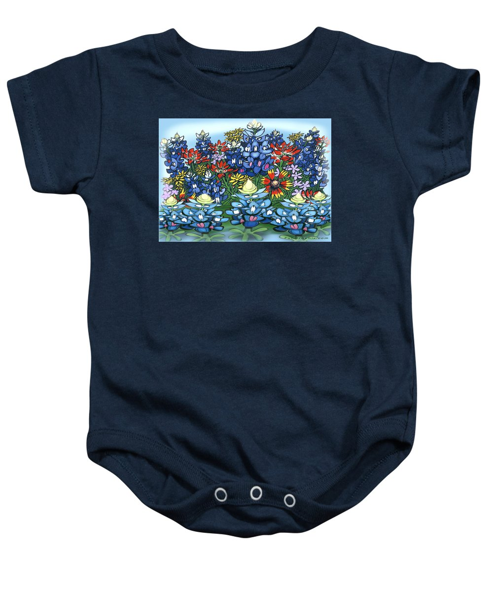 Wildflowers Baby Onesie featuring the digital art Wildflowers by Kevin Middleton