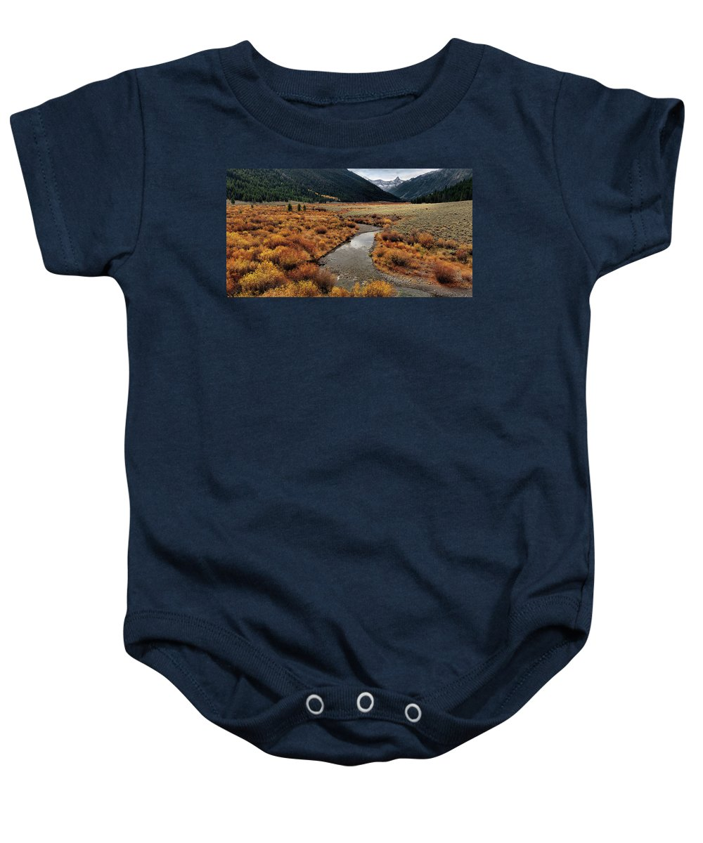 Idaho Baby Onesie featuring the photograph Wildhorse Creek by Leland D Howard