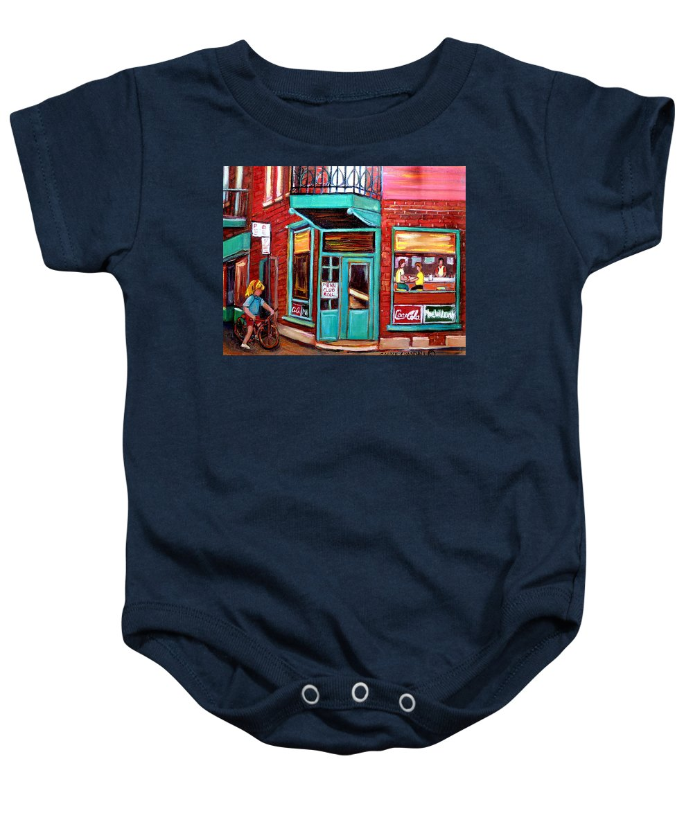 Wilensky\'s Cafe Baby Onesie featuring the painting Wilenskys Cafe On Fairmount In Montreal by Carole Spandau