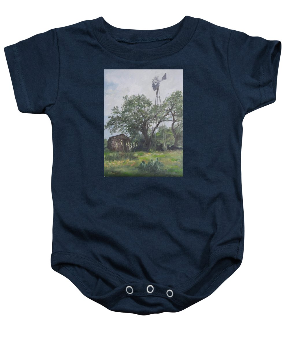 Texas Baby Onesie featuring the painting Windmill At Genhaven by Connie Schaertl