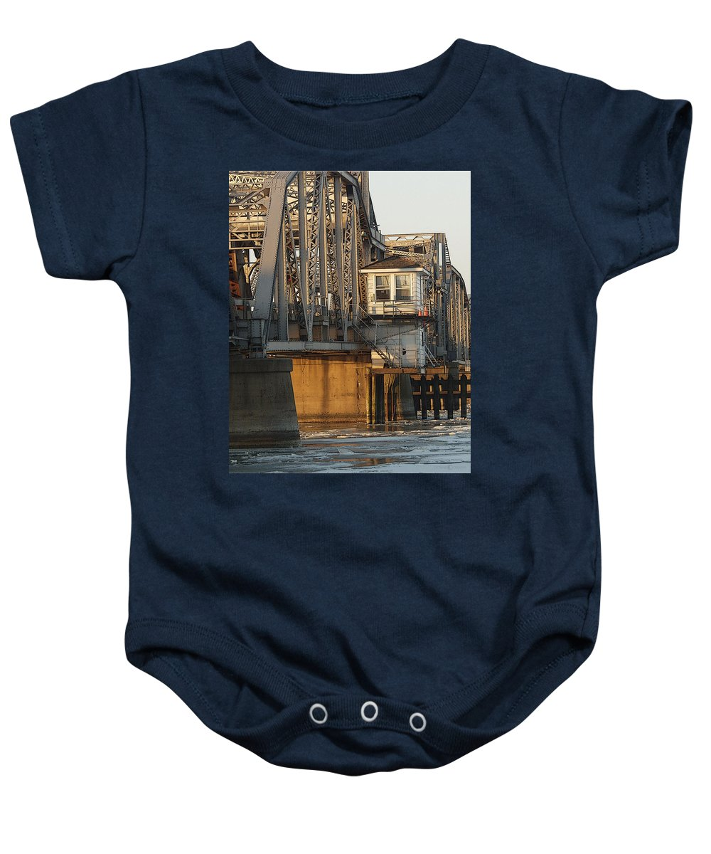 Bridge Baby Onesie featuring the photograph Winter Bridgehouse by Tim Nyberg