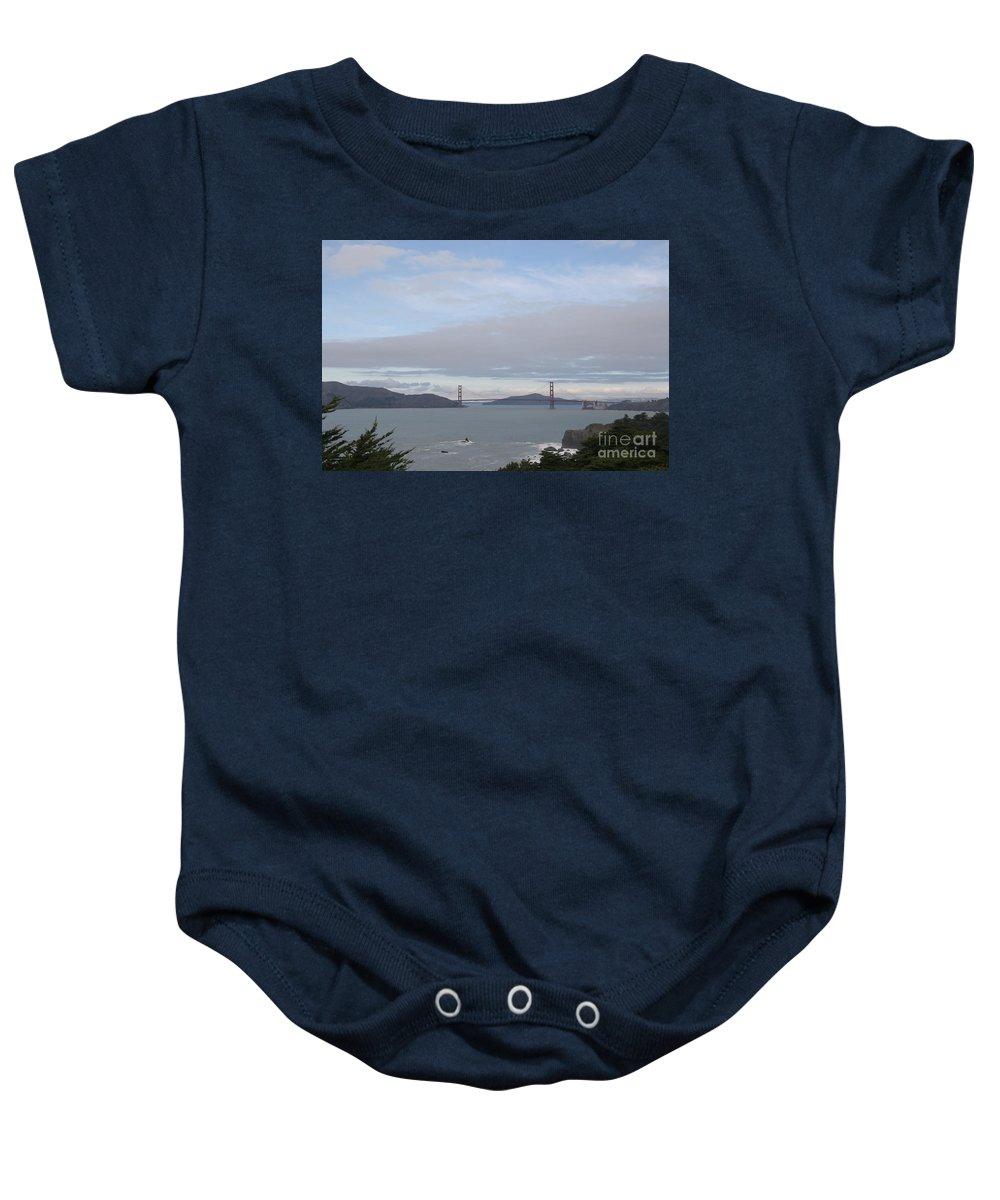 Golden Gate Bridge Baby Onesie featuring the photograph Winter Landscape With Golden Gate Bridge by Clay Cofer