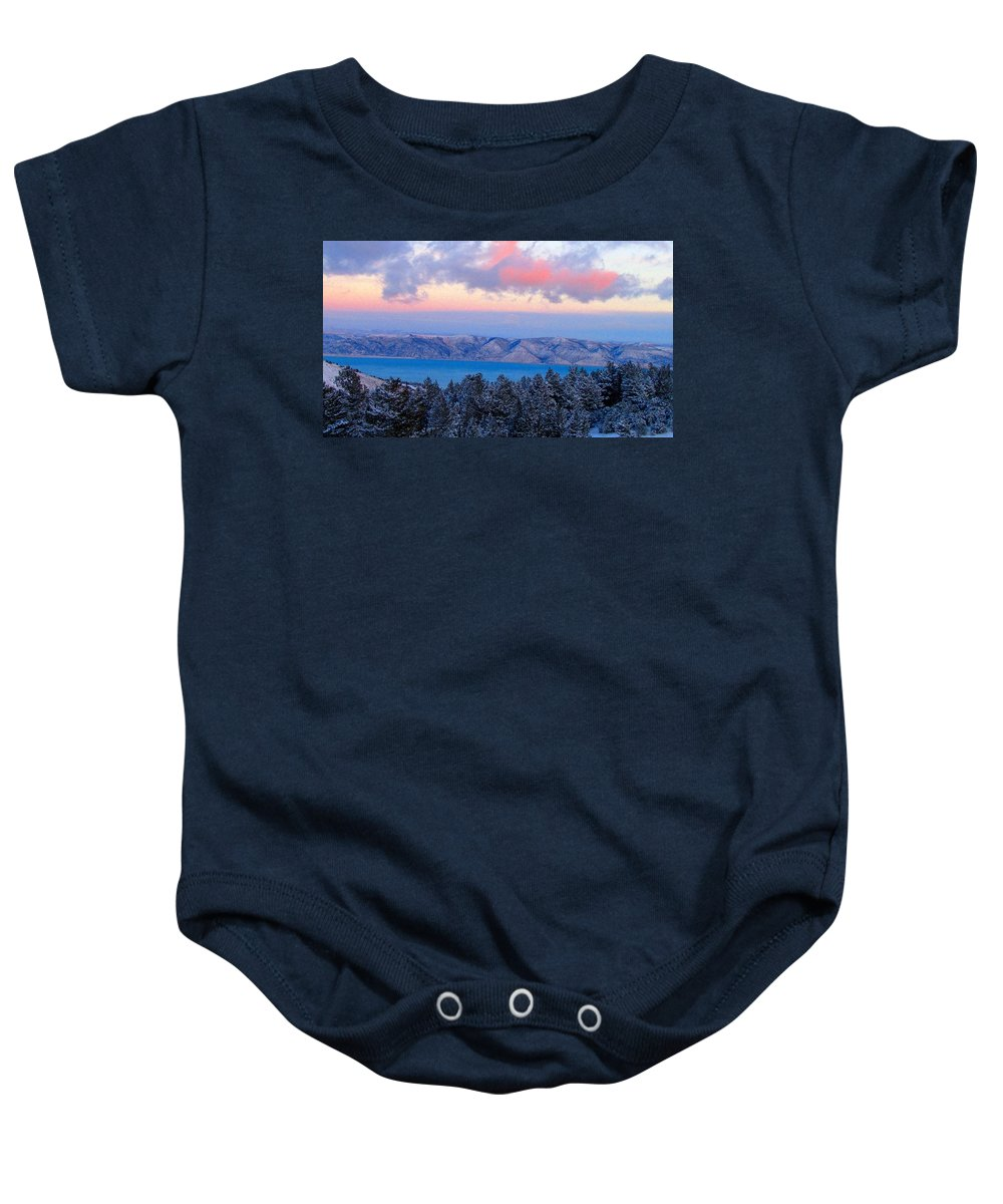 Sunset Baby Onesie featuring the photograph Winter Sunset by Carol Dyer