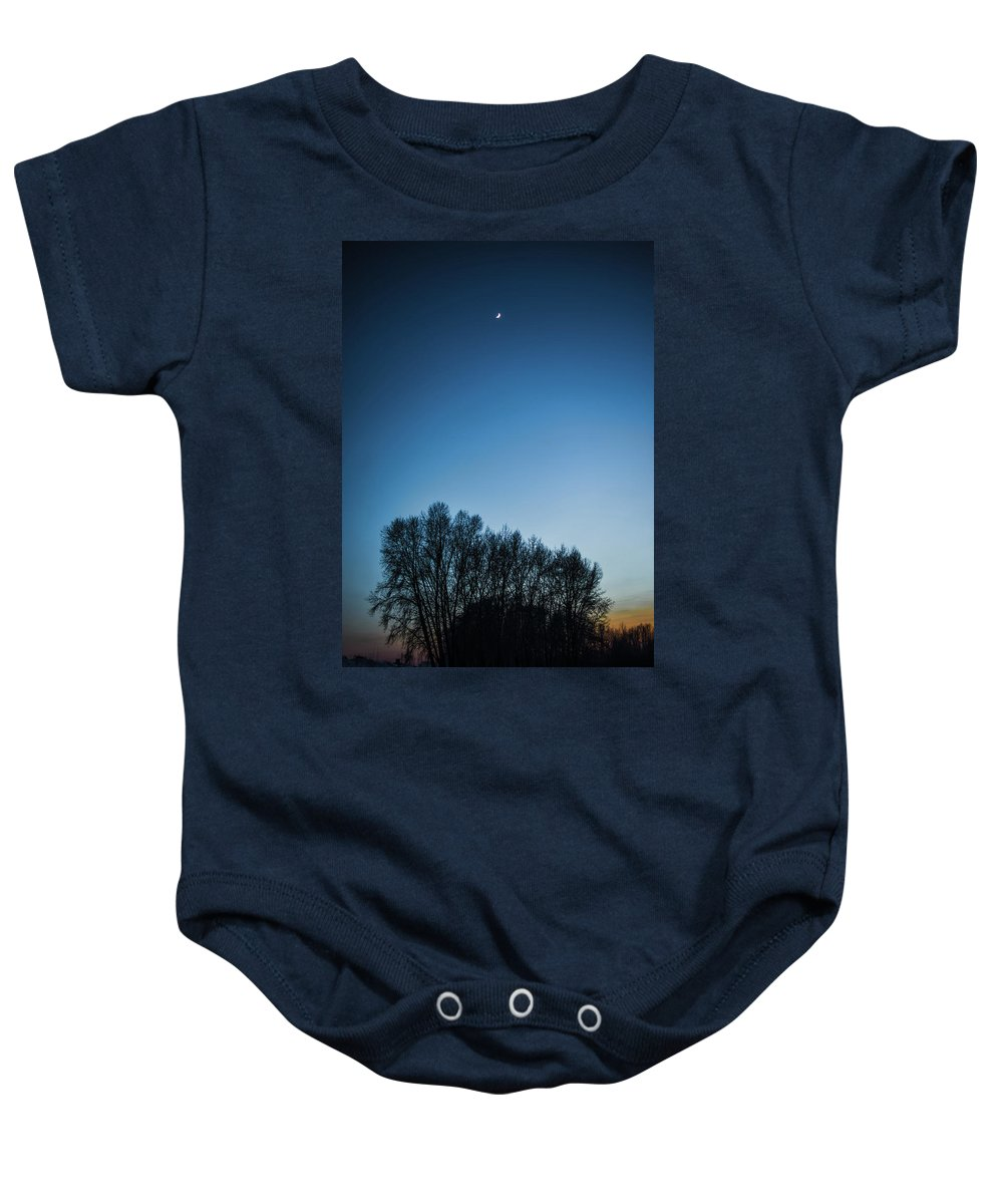 Background Baby Onesie featuring the photograph Winter Trees On The Background Of The Night Sky by Oleg Yermolov
