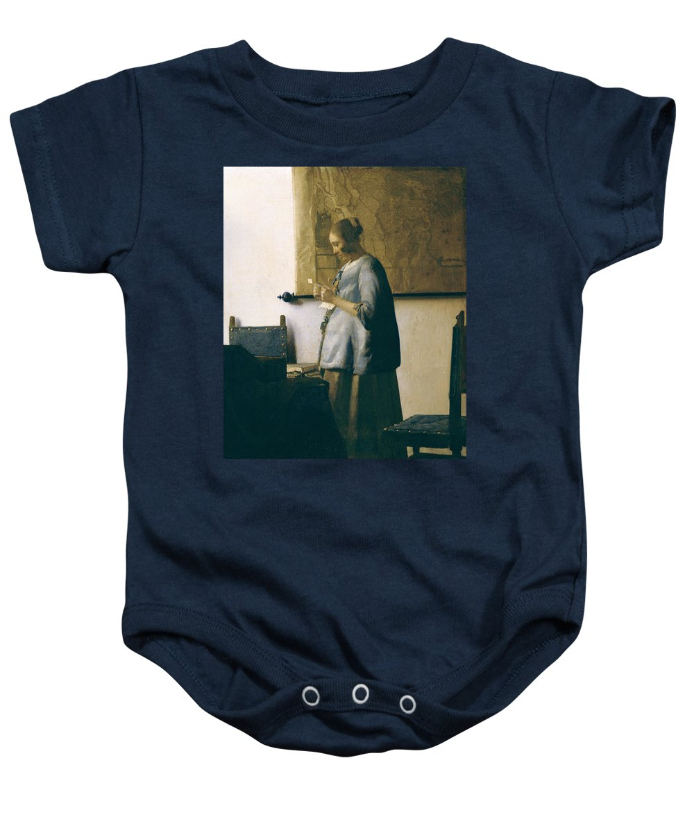 Woman Reading A Letter Baby Onesie featuring the painting Woman Reading A Letter by Jan Vermeer