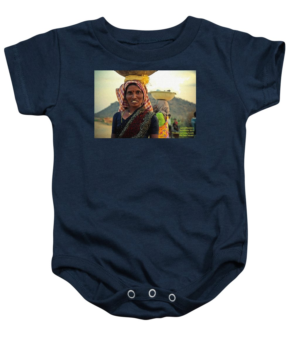 Women Baby Onesie featuring the painting Women Carrying Goods On Their Heads H A Nv by Gert J Rheeders