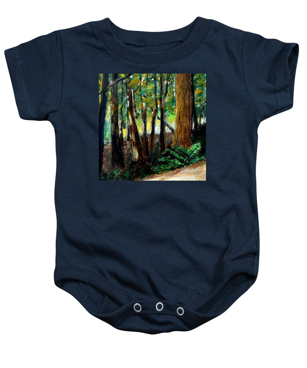 Livingston Trail Baby Onesie featuring the drawing Woodland Trail by Michelle Calkins