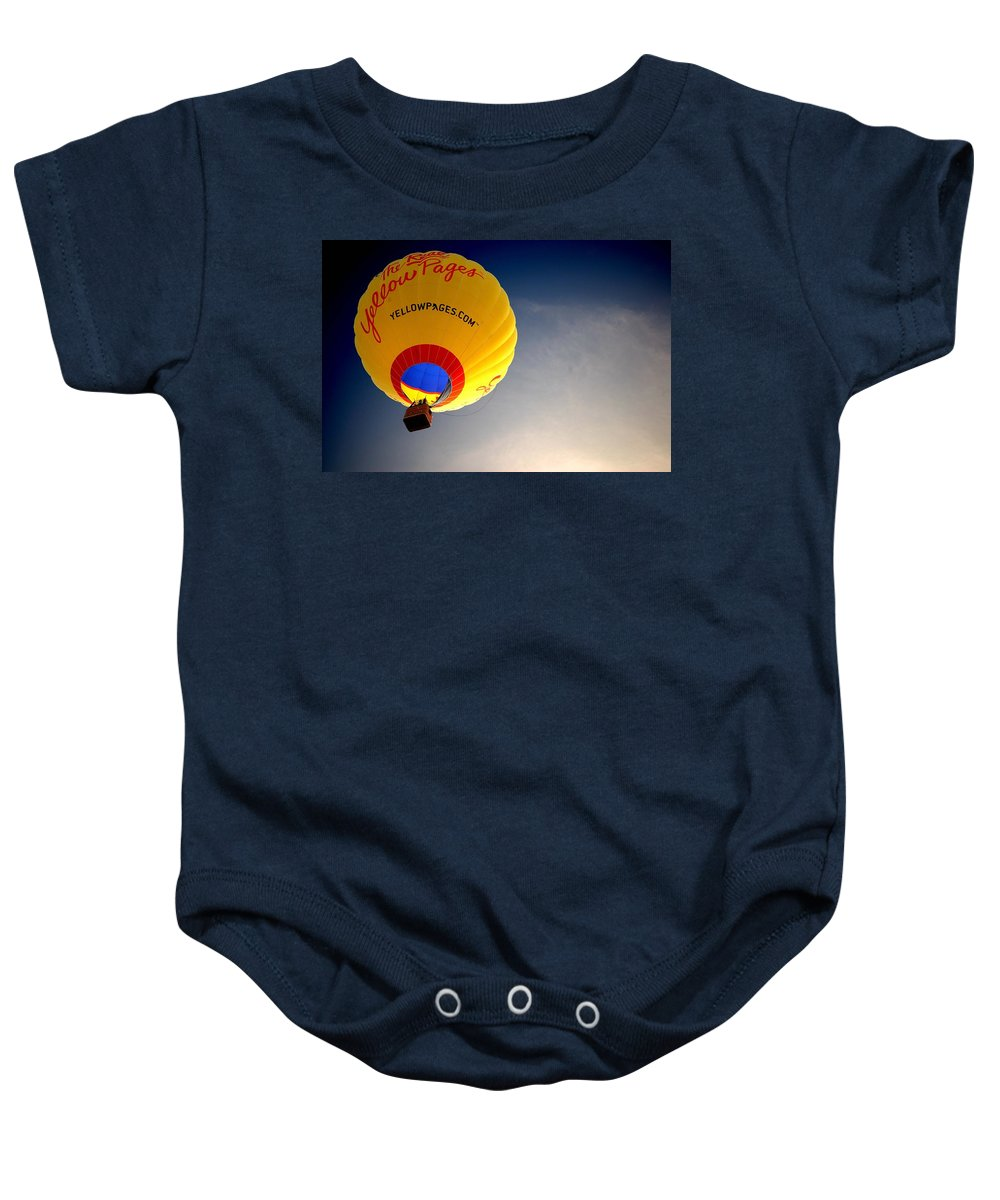 Hot Air Baby Onesie featuring the painting Yellow Pages Balloon by Michael Thomas