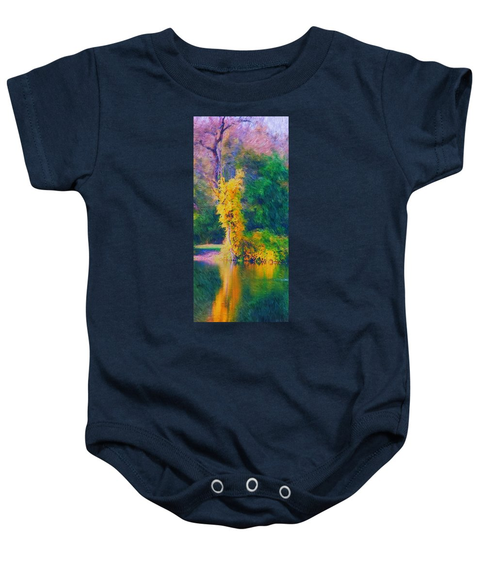 Digital Landscape Baby Onesie featuring the digital art Yellow Reflections by David Lane