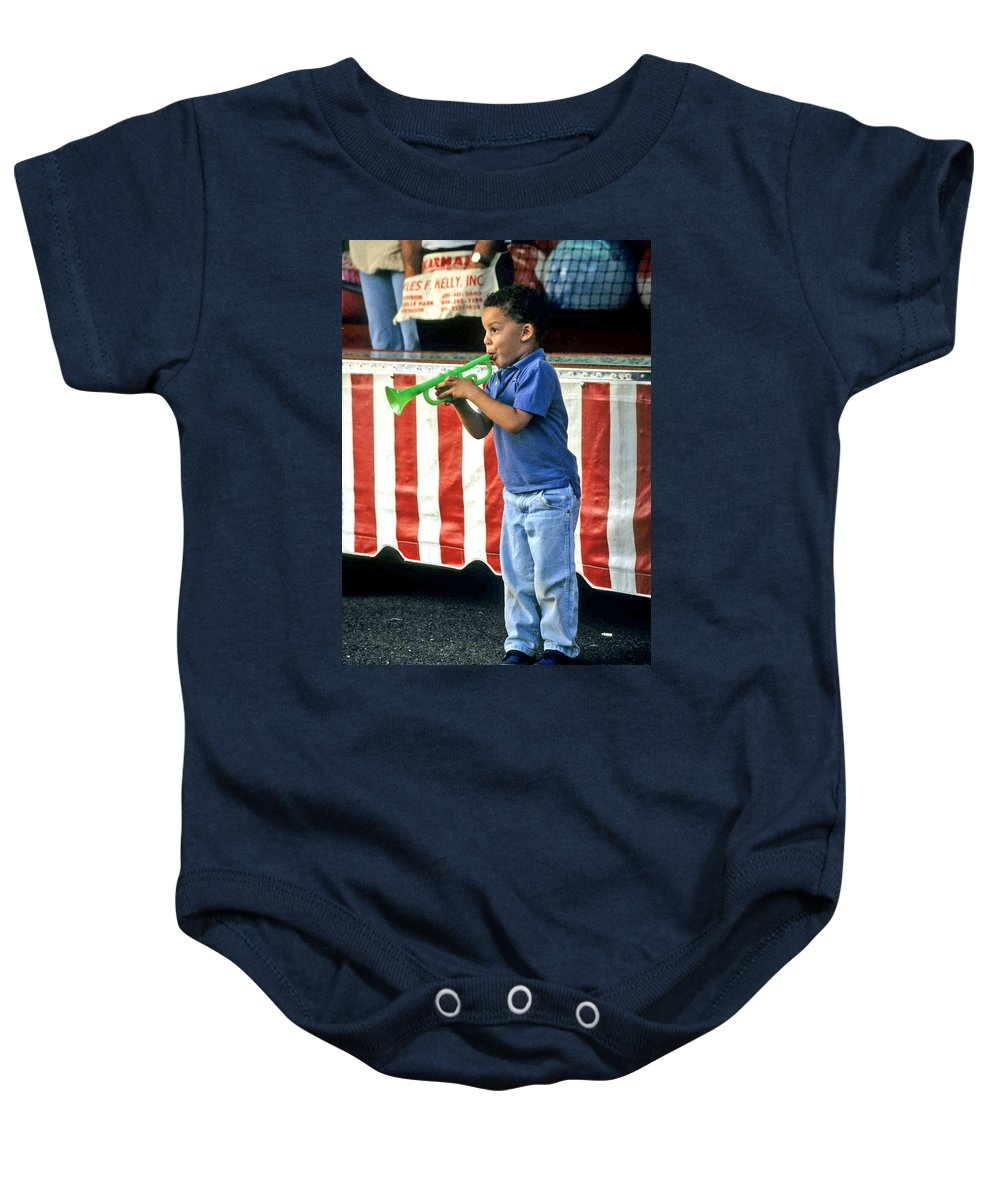 Young Musician Baby Onesie featuring the photograph Young Musician by Laurie Paci