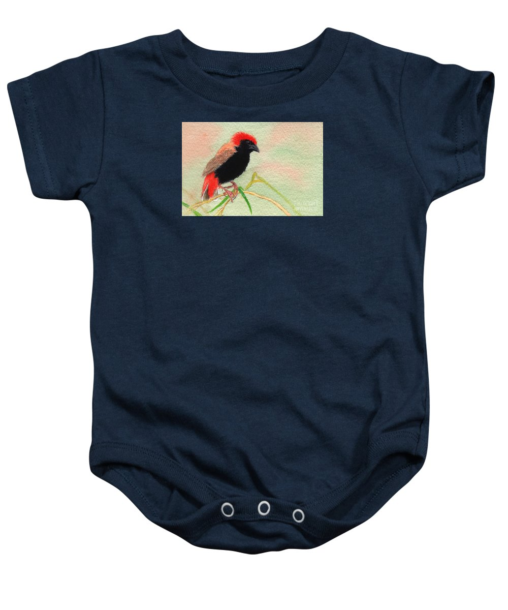 Bird Baby Onesie featuring the painting Zanzibar Red Bishop by Lynn Quinn