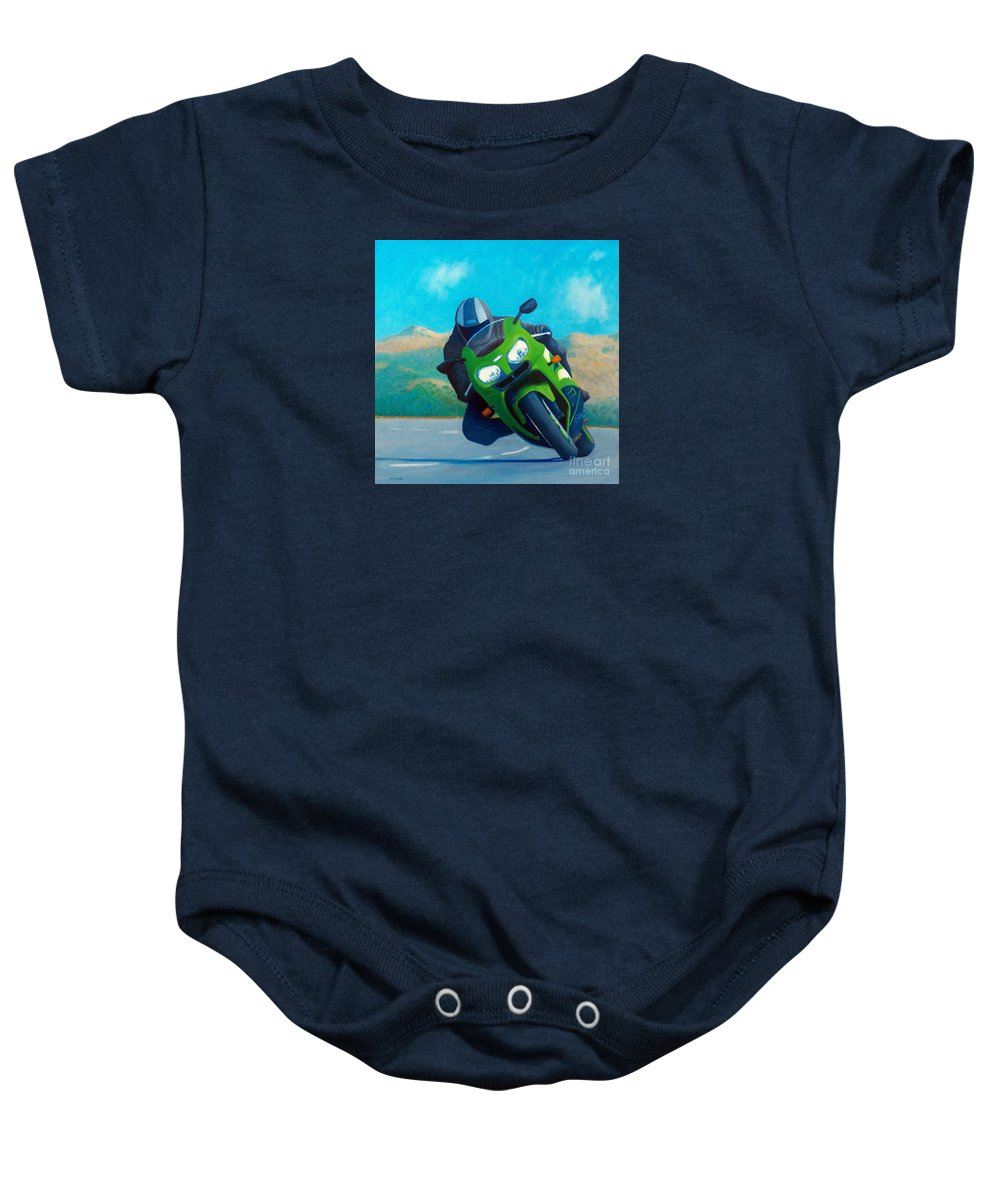 Motorcycle Baby Onesie featuring the painting Zx9 - California Dreaming by Brian Commerford