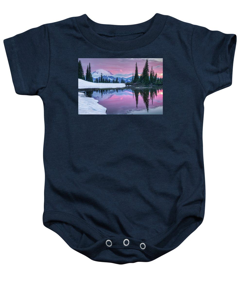 Tipsoo Lake Baby Onesie featuring the photograph Tipsoo Melt by Judi Kubes