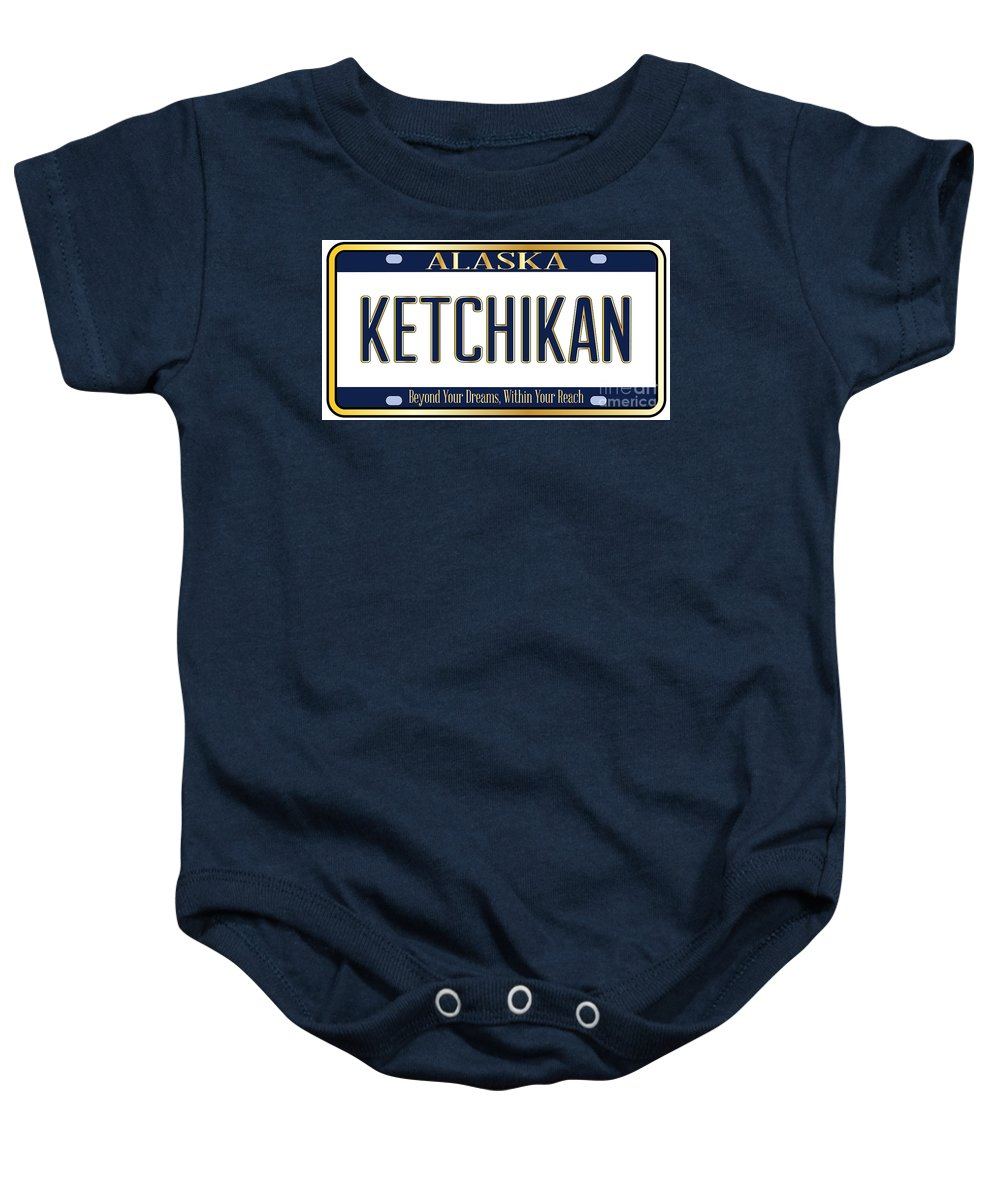 Alaska Baby Onesie featuring the digital art Alaska State License Plate Mockup With The City Ketchikan by Bigalbaloo Stock
