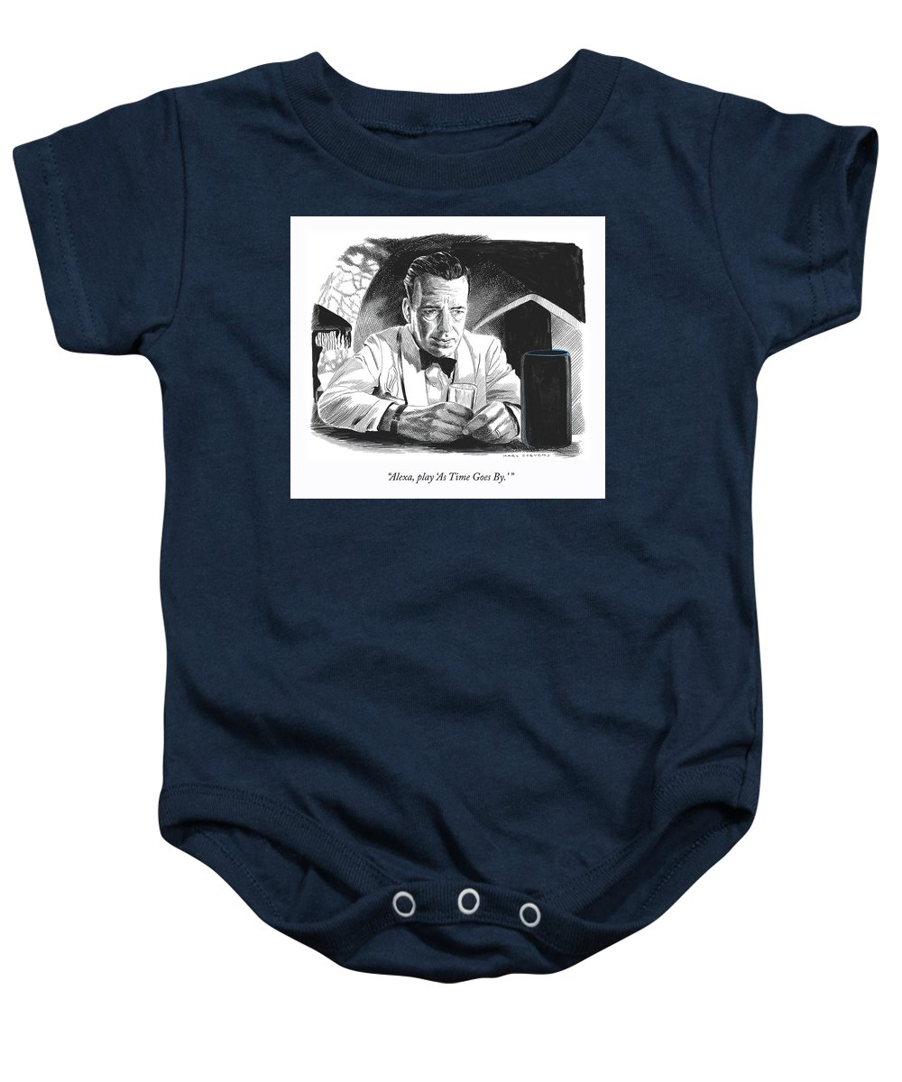 """""""alexa—play 'as Time Goes By.'"""" Baby Onesie featuring the drawing As Time Goes By by Karl Stevens"""