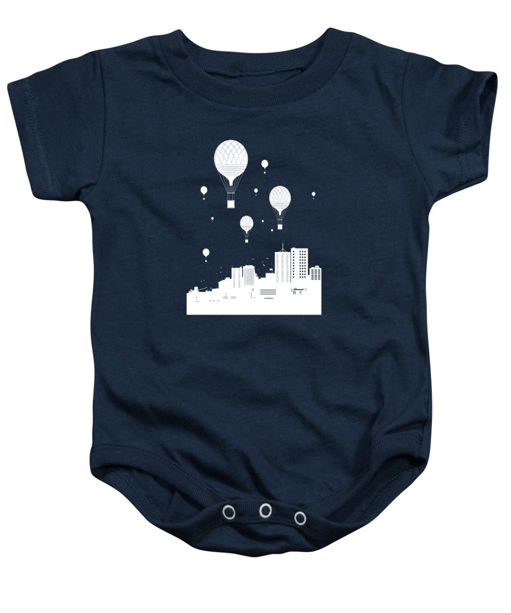 City Baby Onesie featuring the mixed media Balloons And The City by Balazs Solti