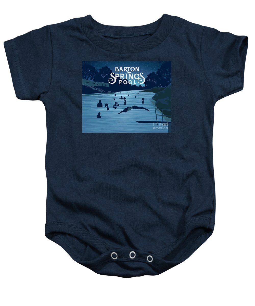 Barton Springs Pool Baby Onesie featuring the photograph Barton Springs Pool by Weird Austin Photos