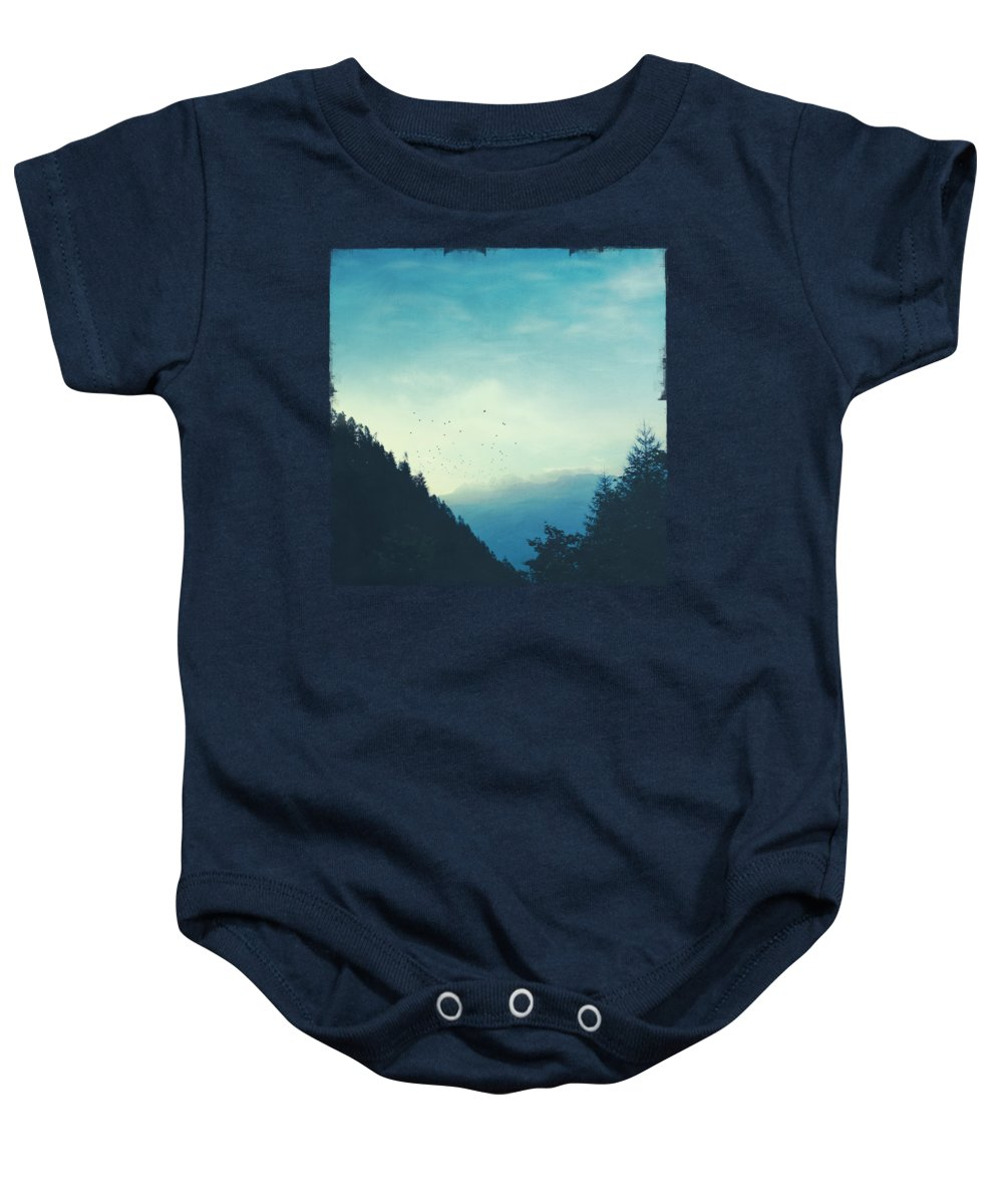 Silhouettes Baby Onesie featuring the photograph Beautiful Mountain Morning by Dirk Wuestenhagen