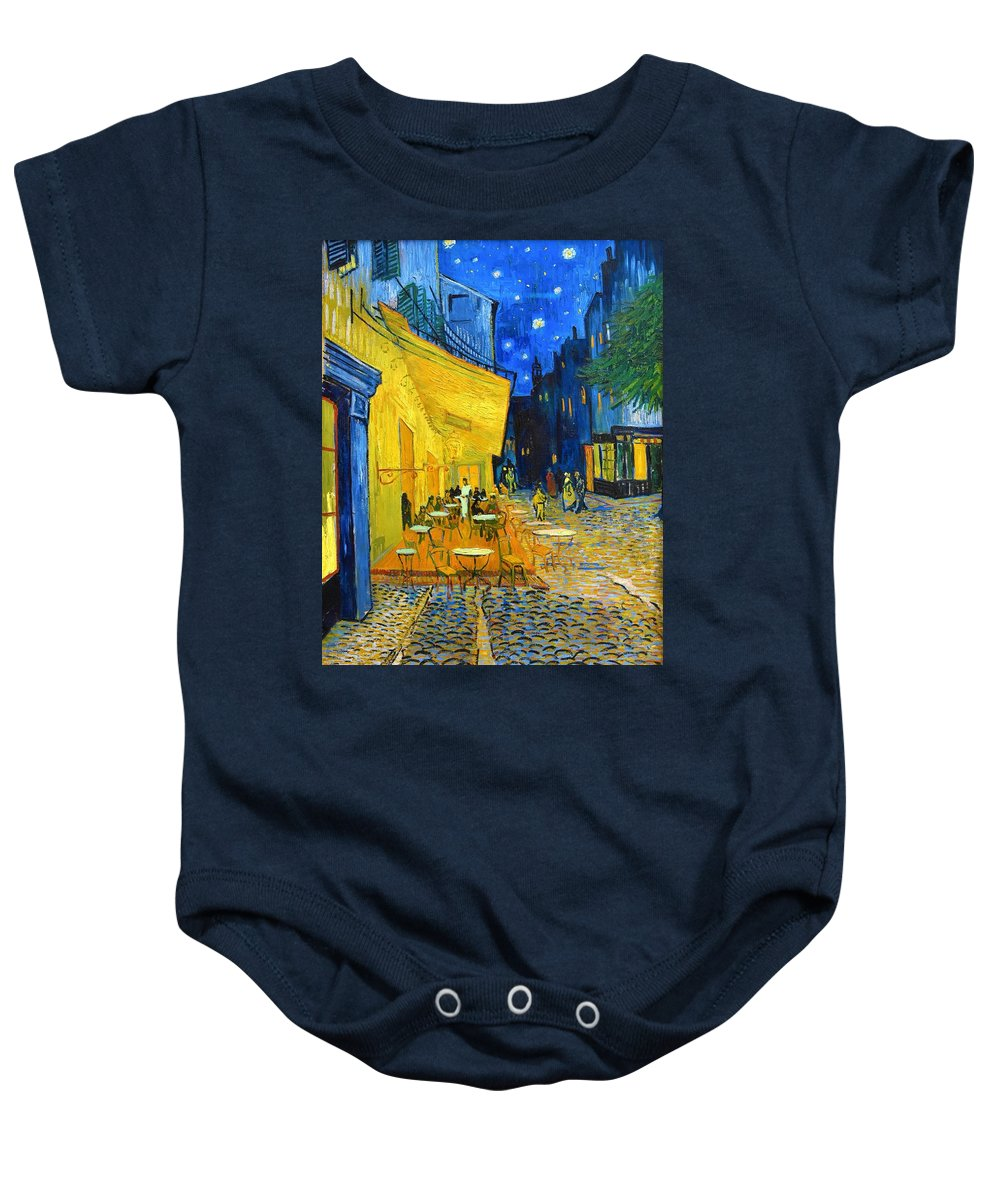 Vincent Van Gogh Baby Onesie featuring the painting Cafe Terrace At Night - Digital Remastered Edition by Vincent van Gogh