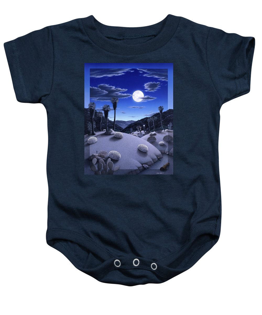 Desert Baby Onesie featuring the painting Full Moon Rising by Snake Jagger