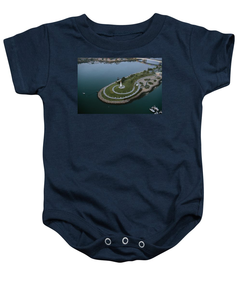Photography Baby Onesie featuring the photograph Lighthouse On The Coast, Long Beach by Panoramic Images