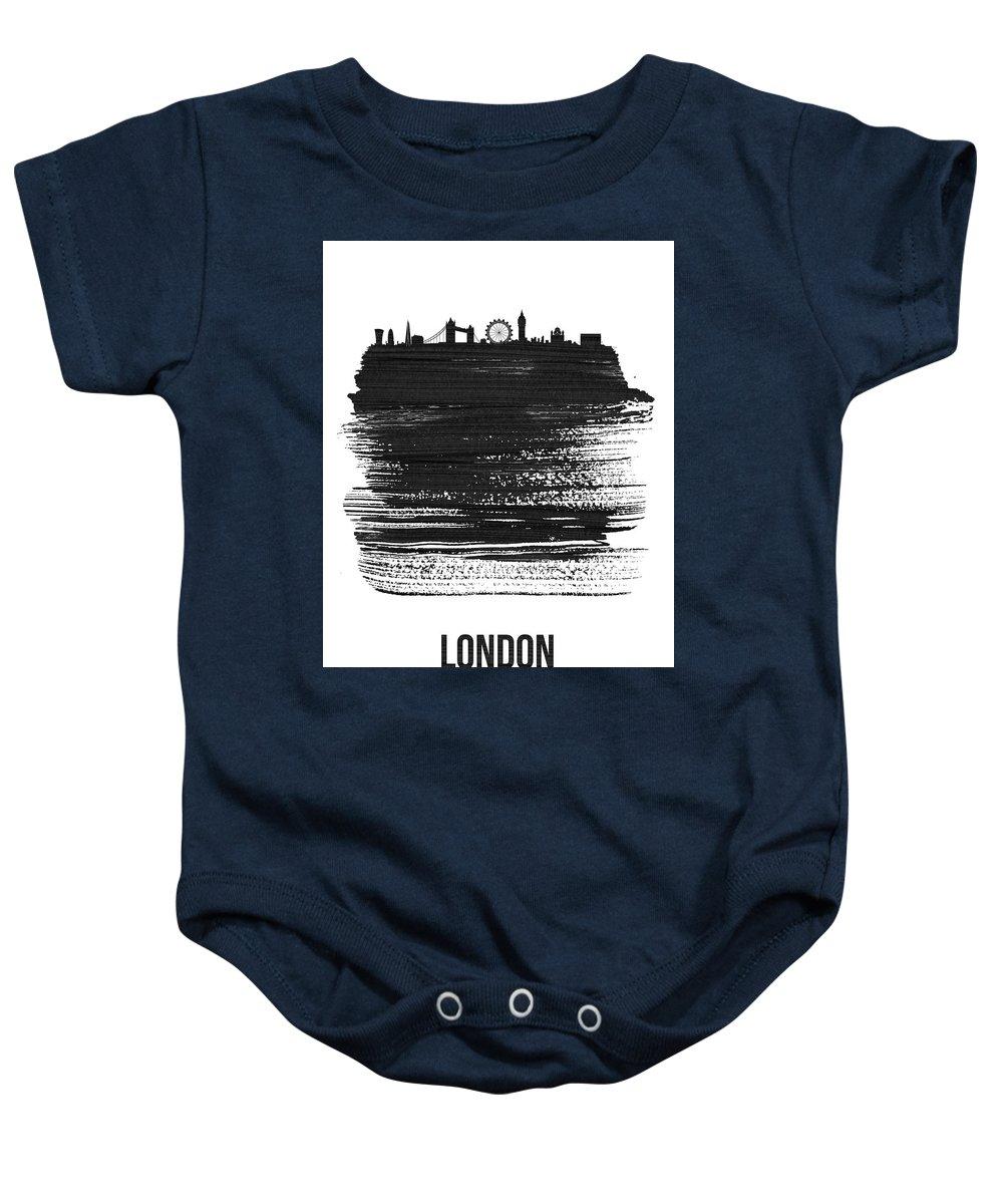 London Baby Onesie featuring the mixed media London Skyline Brush Stroke Black by Naxart Studio