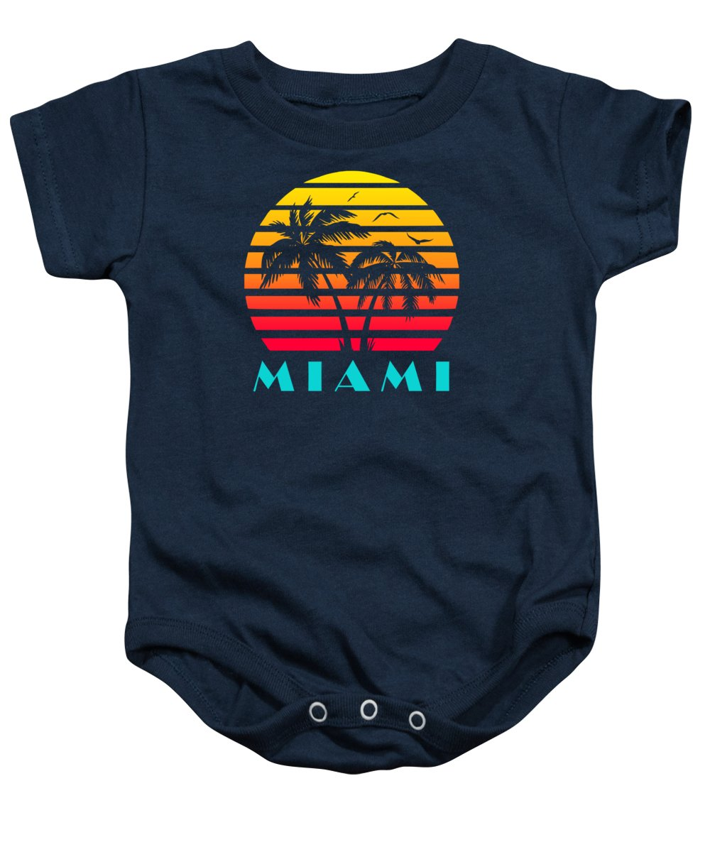 This Cool And Awesome Tee Shirt Features A Classic Vintage Sunset Inspired By Retro Vhs Tapes Of Famous Tv Shows And Movie Posters. Palm Trees And Seagulls In Front Of A Beautiful Tropical Sun That Glows In Yellow Baby Onesie featuring the digital art Miami 80s Tropical Sunset by Filip Schpindel