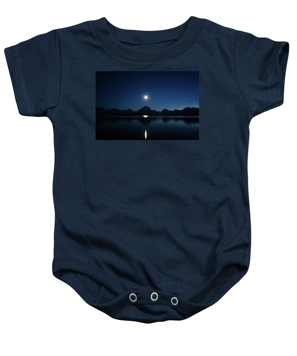 Reflection Baby Onesie featuring the photograph Moonset Reflection by Jason Bohl